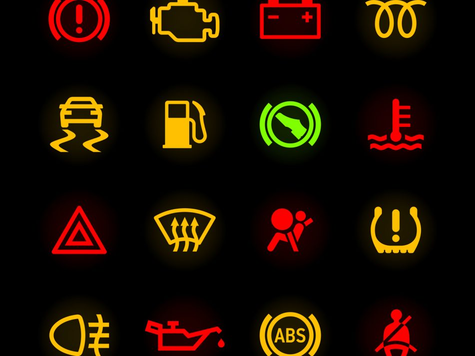 Various warning light symbols against a black backgorund