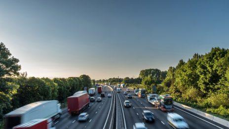 A busy UK motorway at daytime
